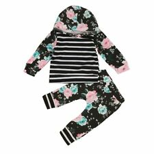 Newborn Baby Girls Floral Hooded Striped Tops Pants Leggings Outfits Clothes Set