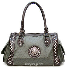 Designer inspired brown gray signature handbag Bag purse pockets Satchel