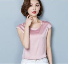 Vintage style Pink Color Polyester Material Short Sleeve Blouse for Women