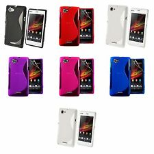 SONY XPERIA L S36H S-LINE SILICONE GEL COVER CASE AND SCREEN PROTECTOR