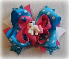 Little Pony Blue Boutique Hair Bow 3 layers Loops Spikes Funky Hairbows Toddler