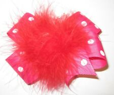 Red Pink Dot Boutique Hair Bow Marabou Puff Feather Hairbow 5 inch Party Pageant