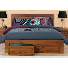 GANZA Solid Timber Bed Frame with end Drawer- King/Queen / Double / King Single