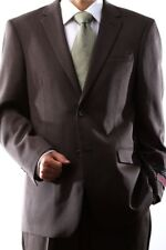 MENS 2 BUTTON SUPER 120S WOOL BROWN SUIT FLAT FRONT, 40312N-40392-BRO