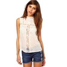 Women Hollow Out Lace Decorated Casual Loose Summer Fashion Blouse