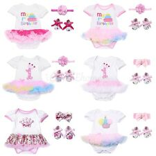 3PCS Baby Girls Princess Crown Romper Jumpsuit Dress 1st Birthday Party Outfits