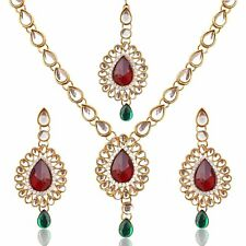 Indian Bollywood Gold Plated Ethnic Traditional Kundan Diwali Gift Necklace Set