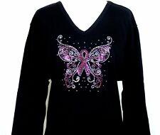 SMALL 3/4 Sleeve Top Rhinestone Embellished Breast Cancer Pink Ribbon Butterfly