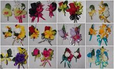 2PCS PIN ON Corsage & Boutonniere Set with mini Orchid many colors to pick from