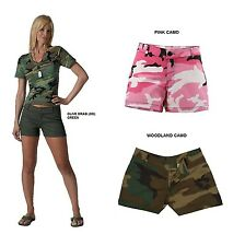 Ladies Camo Shorts Woodland Pink Olive Drab (OD) Green Army Cargo Pockets Zipper
