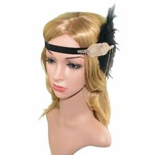 Vintage Feather 1920s Headpiece Flapper Chain Hairband Great Gatsby Headband HOT