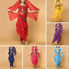 Adult Belly Dance Costume Set Bollywood Top Gold Wavy Harem Pants Belt Party Set
