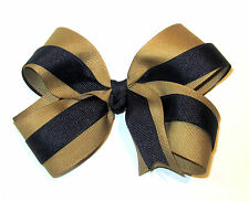 "Navy Blue and Khaki Tan Boutique Hair Bow 2 Tone Large 5"" BTS Uniform Hairbows"