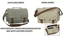 Classic CANVAS & LEATHER Messenger Book Bag Computer Tablet Laptop Notebook Case