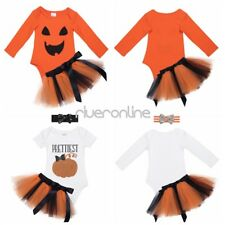 Infant Baby Halloween Girls Costume Romper Pumpkin Cosplay Tutu Skirts Outfits
