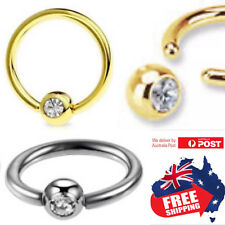 316L PVD 16g 1.2mm Nose Ear Lip Nipple Captive Ring With 3mm Gem Bead Ball 1pc
