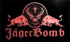 Jagermeister Jager Bomb Bull Wine LED Neon Sign Bar