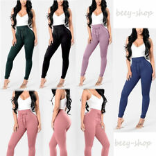 High Waist Womens Casual Bandage Leggings Solid Stretchy Skinny Pencil Pants