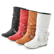 NEW Womens Low Heel Knee High Boots Shoes Wedge Chic Bow AU Size YDXS0334