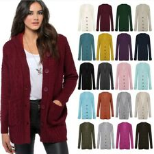 Womens Ladies Cable Chunky Knitted Button Up Long Sleeve Grandad Cardigan Top
