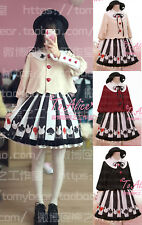 Sweet Lolita Harajuku Poker Prints Short Coat Jacket Gothic Bust Skirt Cute Girl
