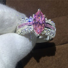 Fashion Jewelry Marquise Cut Pink sapphire White Gold Filled Wedding band Ring