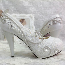 Women Evening Party Crystal  Glitter Gorgeous Wedding Bridal High Heels Shoes