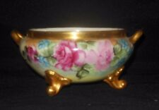 GDA LIMOGES HAND PAINTED 3 FOOTED BOWL PINK ROSES BLUE FLOWERS GOLD RIM 1900
