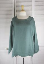 Spa Long Sleeve Flax Linen Top in 18 Colors S M L XL by Blue Fish Red Moon