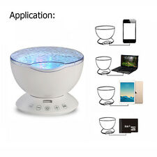 Remote Control Ocean Wave Light Projector 12 LED 7 Color Night Lamp Music Player