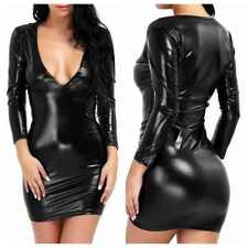 Womens Sexy Black Shiny Leather Bodycon Wetlook Party Dress Clubwear Mini Dress