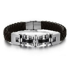 New Men's Bracelet Stainless Steel Cuff Braided Clasp Bangle Leather Bracelet