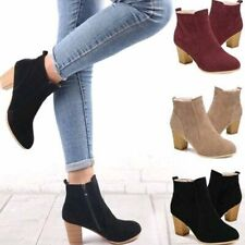 Womens Ladies Suede Shoes Boots Heels Thick Winter Fall Warm Solid Color Short