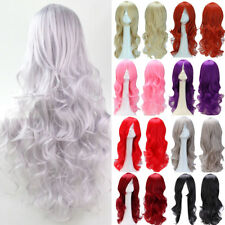 PINK Wig Cosplay Long Wavy Straight Full Wigs Blonde Black Synthetic Hair Curly