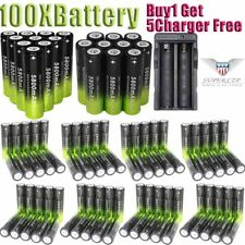 100Pcs 18650 3.7V Batteries Rechargeable Li-ion Battery+Charger For Flashlight ,