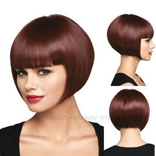 Fashion Ladies Bob Full Wig Shotr Straight Cosplay Costume Party Wigs Brown hsf