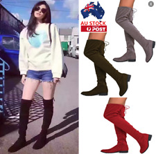 AU Women Ladies Suede Over The Knee On Stretch Thigh Platform Shoes Zipper Boots