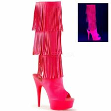 Pleaser DELIGHT-2019-3 Neon Hot Pink Faux Leather/Neon Hot Pink Boots