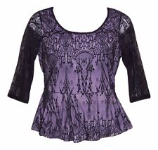 LANE BRYANT 14/16 18/20 22/24 26/28 Black Lace Lined 3/4 Sleeves Peplum Top-NWOT