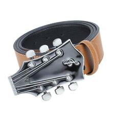 Men's Leather Western Country Music Guitar Buckle Casual Belt Waistband