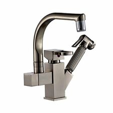 Rozinsanitary Brushed Nickel LED Swivel Spout Kitchen Sink Faucet Pull Out