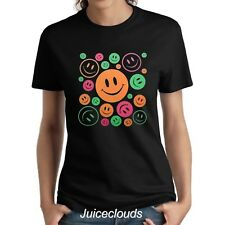Smiley Face Ladies Shirt Neon Peace and Love Smiley Emoji Women's Tee