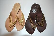 WOMENS Brown or Gold Beaded Sequined Thong Sandals Slip On Party Shoes Size 9
