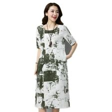 Spring O-Neck Short Sleeve Floral Print Solid Color Chiffon Dress For Women