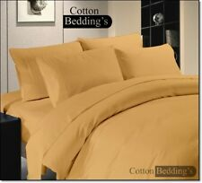 600 800 1000 1200 TC US 100% Egyptian Cotton Gold Color Duvet/Fitted/Flat Solid