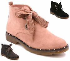 WOMENS GREY BLACK PINK FAUX SUEDE FLAT LACE UP DESERT WALKING BOOTS SHOES SIZE 3