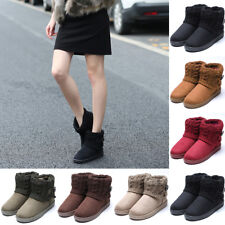 Womens Fur Winter Warm Suede Slip On Ankle Snow Boots Short Shoes Ankle Boots