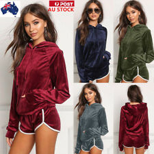 Women Long Sleeve Hoodie Sweatshirt Jumper Top Sport 2Pcs Tracksuit Pullover Set