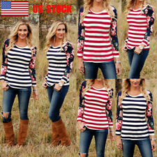 US Women Floral Long Sleeve Blouse Ladies Striped Tops Casual T-Shirt Autumn Tee