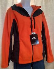 NWT SNOZU Size Medium Coral Orange Black FLEECE Performance Hooded JACKET